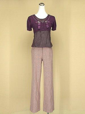 貞新 韓版 紫色圓領短袖假兩件緞面棉質上衣F號+youths&maidens 粉紅格紋棉質長褲 M號(41818)