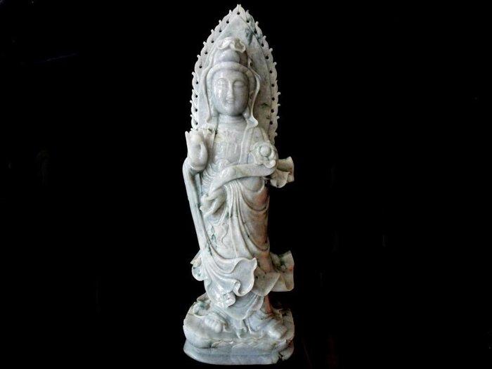 *藏雅軒*早期收藏緬甸玉雕刻大型雕件-飄花青-賜福觀音