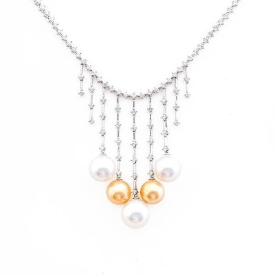 【JHT 金宏總珠寶/GIA鑽石專賣】1.78ct天然珍珠鑽石套鍊/材質:18K(PP00063)