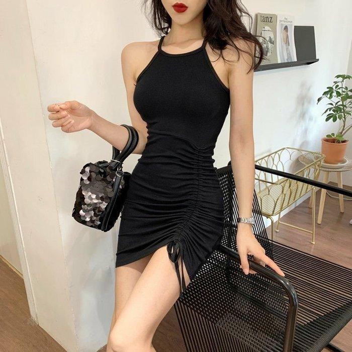 Qmi 2019夏季新款性感修身露肩掛脖無袖包臀連衣裙