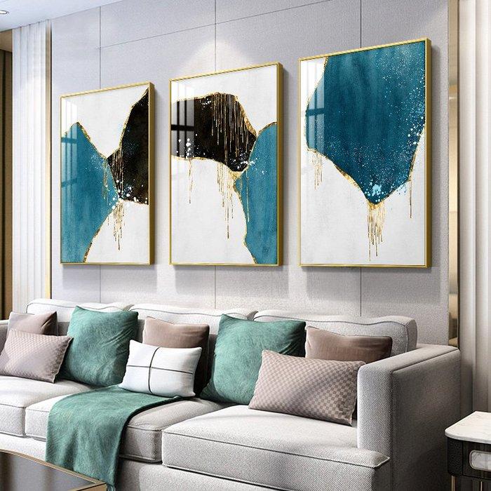 新中式现代简约抽象几何金箔线条水彩装饰画画芯微喷打印(3款可選)