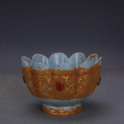 【三顧茅廬】宋代汝窯包金鑲寶石支釘蓮花碗 文物古瓷器古玩古董收藏擺件