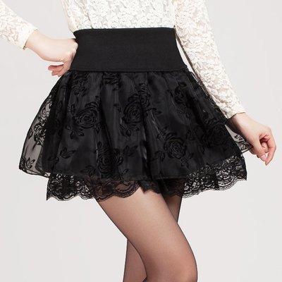 短裙秋冬半身裙歐根紗高腰大碼蕾絲蓬蓬裙玫瑰百褶裙小黑裙女洋裝 連身裙 吊帶裙 長裙 短裙 褲裙