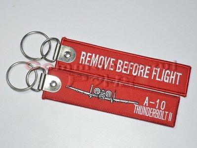 A-10 雷電II攻擊機 Remove Before Flight/飛行前拆除 刺繡鑰匙扣