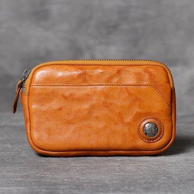 手拿包真皮錢包-純色植鞣牛皮復古男女包包3色73vp18[獨家進口][米蘭精品]