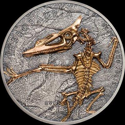 【鑒 寶】(世界各國紀念幣)蒙古2018年生命進化系列4翼龍1盎司仿古鍍金銀幣 HNC2015