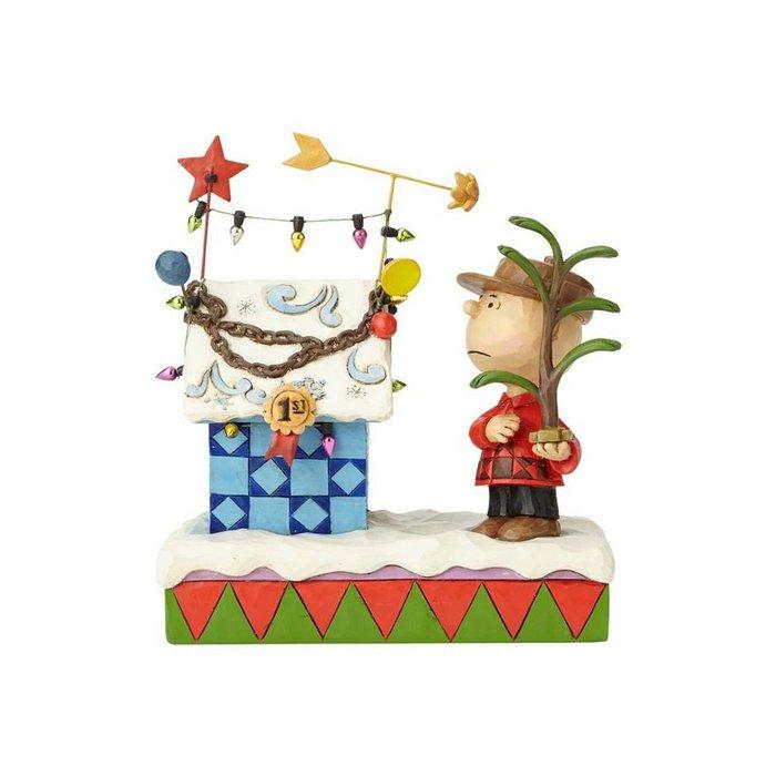 【Dona代購】現貨 美國Enesco精品雕塑 查理布朗裝飾聖誕節小屋 造型塑像 木雕風公仔擺飾 雕像模型
