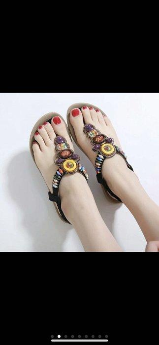 大尺碼女鞋 韓流熱賣 大尺碼波希米亞涼鞋 丁字拖 防滑 黑色44號 僅試穿全新