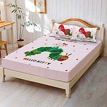 (免運費)單人床包被套組KT6【KITTY好餓的毛毛蟲】正版卡通台灣製3.5尺床包+5X7尺被套+枕頭套/枕套~華隆寢飾