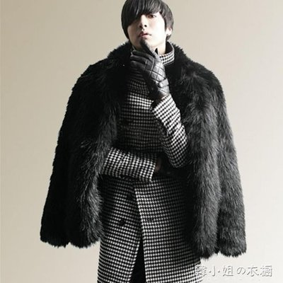 ZIHOPE 秋冬新款仿狐貍毛皮草外套人造皮草毛毛外套大衣加厚短款男裝ZI812