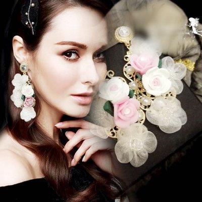歐美奢花朵小香設計款禮服垂墜耳環