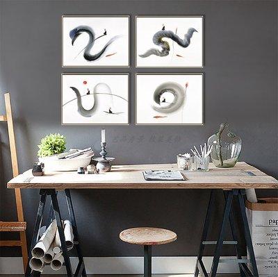 禪意抽象裝飾畫動物抽象意境裝飾畫芯畫布高清微噴打印畫心(不含框)