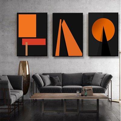 掛畫 無框黑邊 三件組【RS Home】50×70cm 抽象藝術無框掛畫相框木質壁畫北歐中式裝飾畫板民宿攞飾油畫掛鐘掛畫
