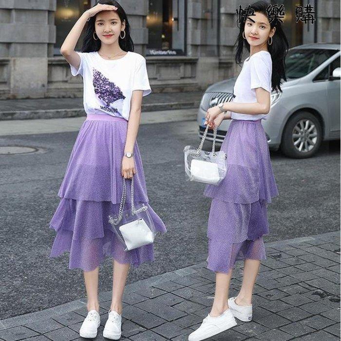印花T恤網紗半身長裙兩件套裝