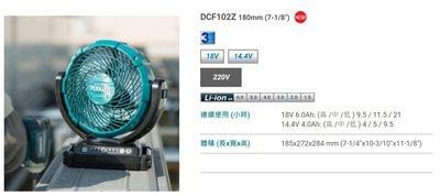 全新現貨  MAKITA 牧田 DCF102 充電式鋰電風扇 18V 送原廠電壓器 非DCF300