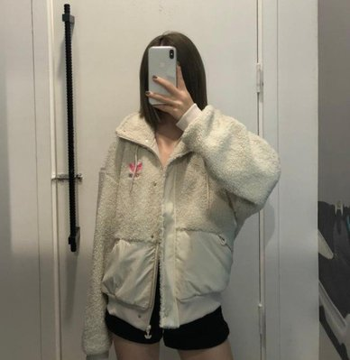 adidas 愛迪達 女生 熊外套 毛絨外套 gv2933