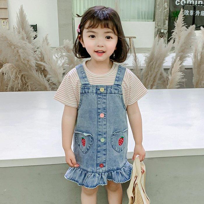 •*~ 辣媽咪衣飾小舖 ~*•❤童裝系列❤K260225韓版小童夏款卡通休閒條紋上衣+吊帶牛仔裙