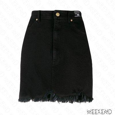 【WEEKEND】 VERSACE JEANS 破壞 抽鬚 牛仔 迷你裙 短裙 黑色
