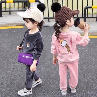 女童套裝 秋冬裝套裝加絨加厚2潮1-4歲5女童洋氣金絲絨衛衣小童衣服【全館免運】