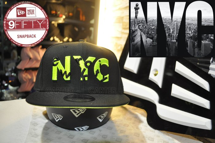 New Era Branded New York City NYC Neon Green USA flag 9Fifty