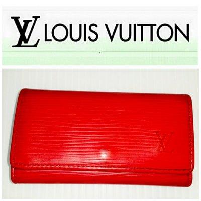 Louise Vuitton經典款 LV 水波紋 4孔 鑰匙包 皮夾 短夾 發財夾 零錢包 紅色  有BV
