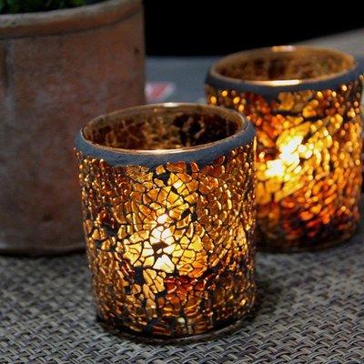 熱銷#歐式琥珀馬賽克玻璃燭臺表白浪漫燭光晚餐酒吧增添氣氛蠟燭杯擺件#燭臺#裝飾