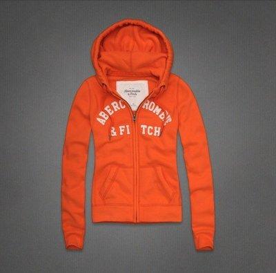 Abercrombie&Fitch AF經典字母排列款式-橘色,美國麋鹿女生連帽外套纯棉休閒帽T【A&F全新品】