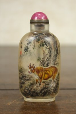 悅年堂 --- 玻璃 內畫 馬少宣 十二生肖 牛 鼻煙壺