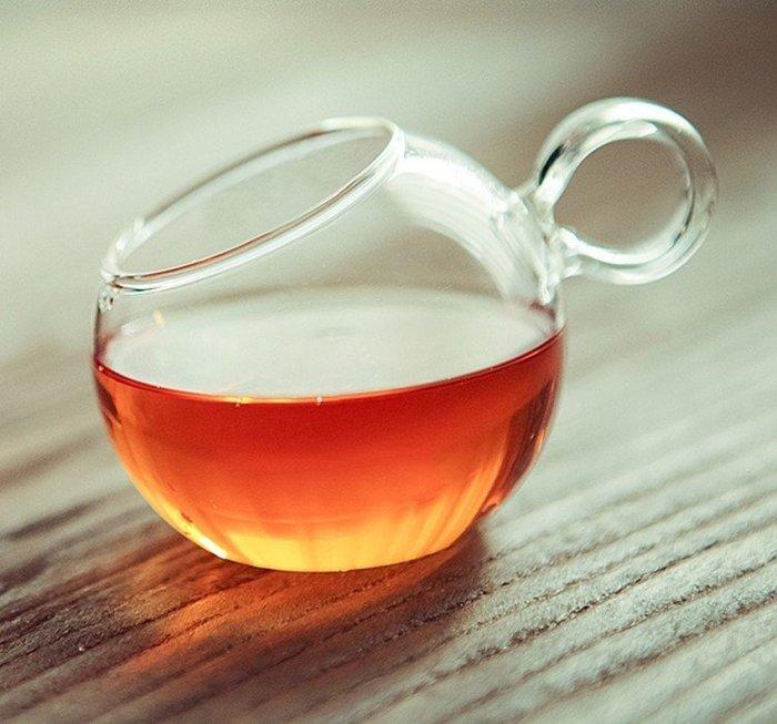 【奇滿來】耐熱玻璃斜口杯 玻璃杯 可愛帶把金魚杯 teatime花茶杯 下午茶品茗茶具 水杯咖啡杯子 2個出貨 AUBY