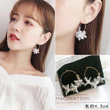日韓時尚女用鋼針防過敏圈圈花朵耳環女生日禮物情人節禮物