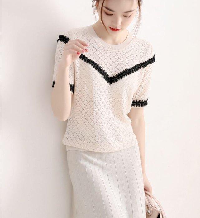 溫柔醒目撞色鏤空針織衫 1129   米蘭風情
