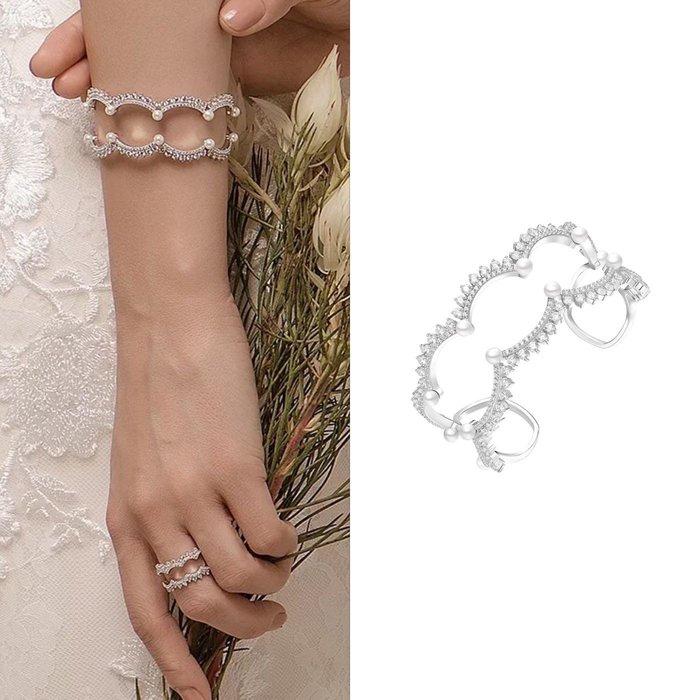 💎1085、哥德蕾絲系列 清澈晶鑽珍珠高雅手鐲💎正韓 飾品 空運 珠寶 耳環