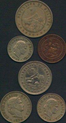 [亞瑟小鋪]外幣 荷蘭,瑞士,玻利維亞 共6枚VF(1906~1944年)