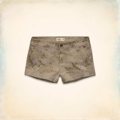 【天普小棧】HOLLISTER HCO Newport Shorts mid rise中腰繡花短褲卡其色5號/27腰