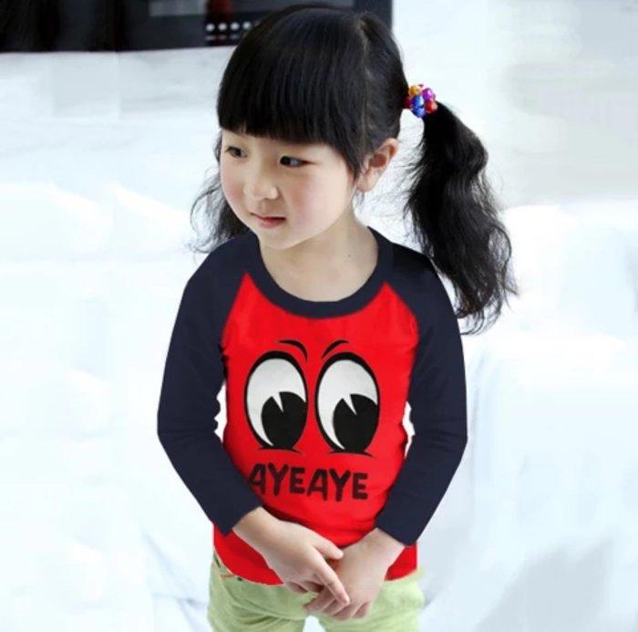 QQ羊*LA006-7新款男女童超柔棉長袖上衣 圓領T恤90~140cm, 紅底眼睛