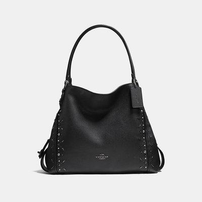 Coco小舖COACH 22794 Edie Shoulder Bag 31 with Prairie Rivets黑色