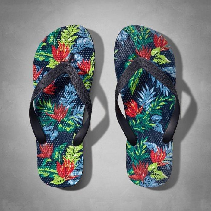 美國百分百【Abercrombie & Fitch】鞋子 AF 配件 橡膠 人字拖 麋鹿 沙灘拖鞋 油彩印花 G919