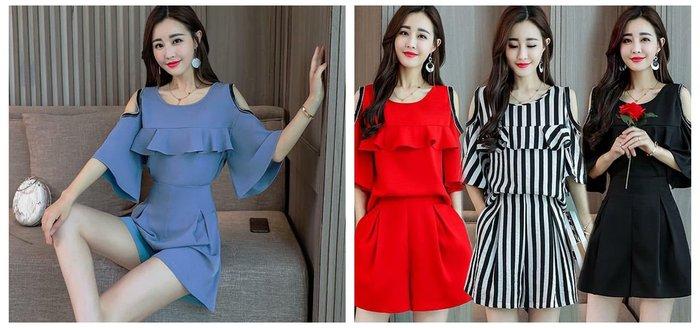 貓姐的團購中心~Z0232 名媛風荷葉優雅套裝~4種顏色~M-3XL一套490元~預購款