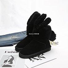 litterluck-韓國專櫃【布瓷女鞋】冬季羊皮毛一體兔耳朵防滑短靴女保暖雪地靴【特價】