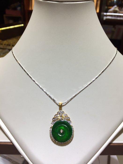 天然A貨翡翠鑽石項鍊,復古古典款式設計,搭配豪華配鑽出清價25800