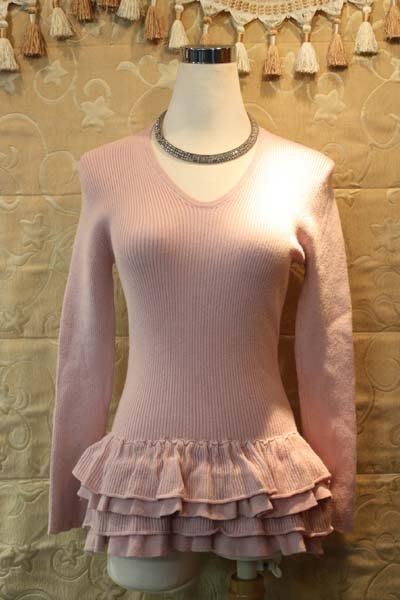 【性感貝貝2館】粉色傘狀蓬蓬裙襬針織上衣