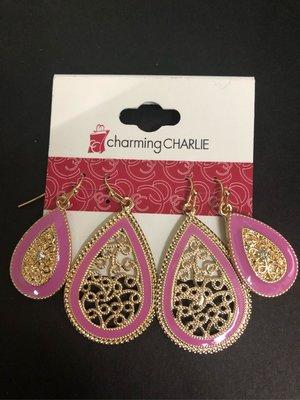 Earrings 🍄耳環 ⭐️ dangle jewellery 2 pairs charming charlie 粉紫色 縷空 復古 耳飾 出口貨