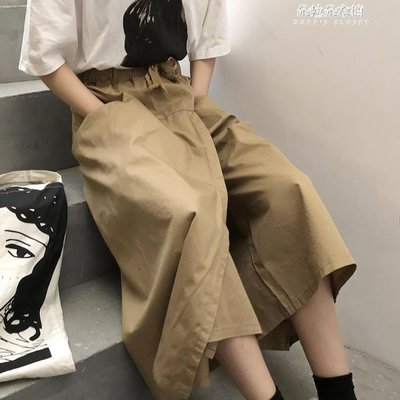 ZIHOPE 小懶推薦 春季新款韓版ULZZANG寬鬆褲腿高腰顯瘦寬管褲七分裙褲女ZI812