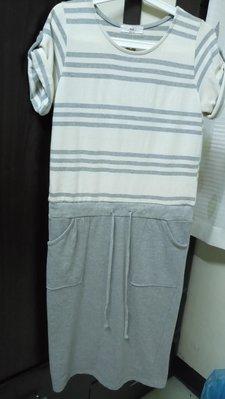 韓國假兩件條紋灰色洋裝-適合S-L水水,賠售便宜賣