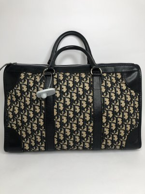 【RECOVER名品二手sold out】Dior 藍色刺繡提花布手提包 . 古董包 . Vintage