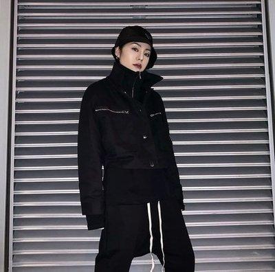 【黑店】訂製款中短版飛行外套 立領拼接黑色飛行外套 中短版秋季夾克 暗黑系夾克 百搭反光外套 潮流外套 AK101