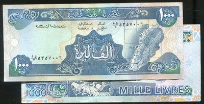 Lebanon (黎巴嫩紙幣), P69b , 1000-LIV. , 1991 ,品相9新AU
