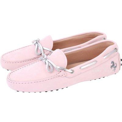 米蘭廣場 TOD'S For Ferrari 麂皮撞色綁帶豆豆休閒鞋(女鞋/粉色) 1730205-05