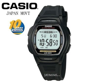 【JAYMIMI傑米】CASIO手錶卡西歐 運動多功能電子錶 【10年電池】防水50M 兒童錶 LW-201 黑