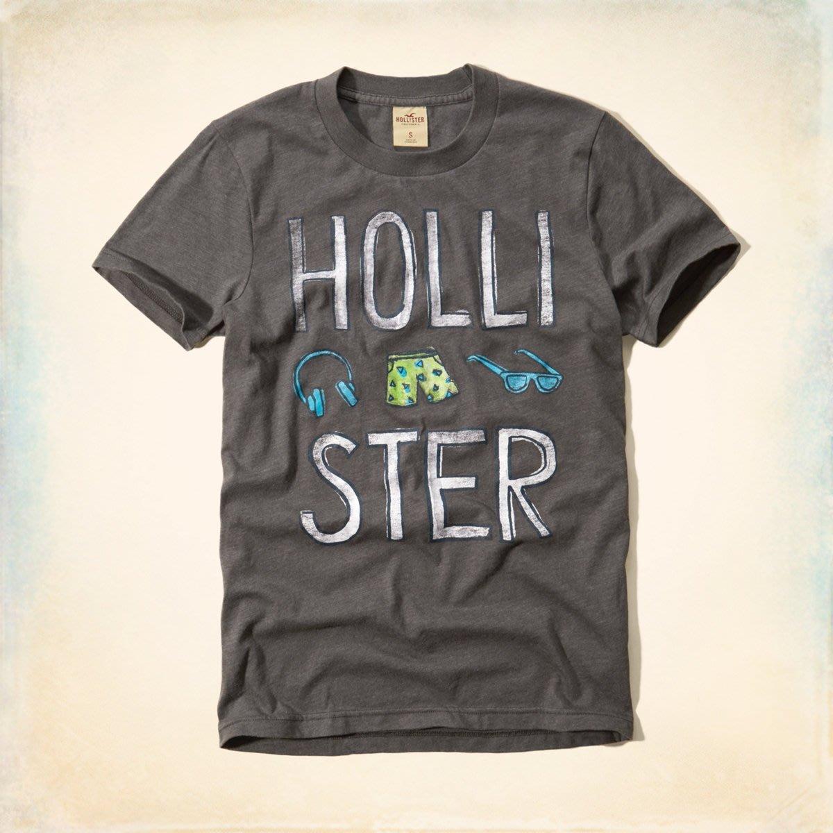 Maple麋鹿小舖 Hollister Co * HCO 灰色印花圖案短T * ( 現貨S號 )